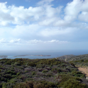 The view to Antiparos & channel islets from Moutsiko hill
