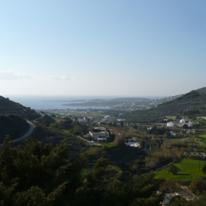 View to Parikia bay from the Byzantine Way, Marathi, Paros