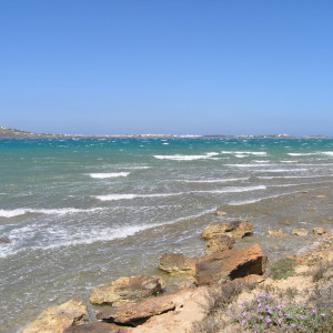 The view to Antiparos from windy Pounta!