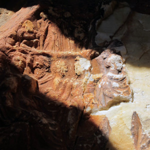 Olympian Gods relief at the entrance of the Nymphs Cave