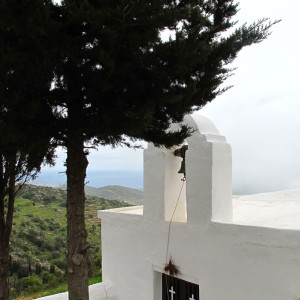 he chapel of Aghioi Akindynoi off Lefkes in wintertime