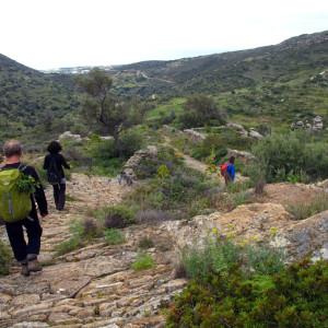 Old stone footpath in Langada, Paros