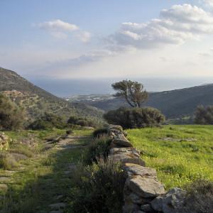 View to Dryos bay from Langada valley, Paros