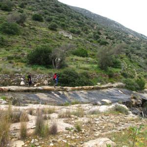 Walking by the stream on Langada valley, Paros