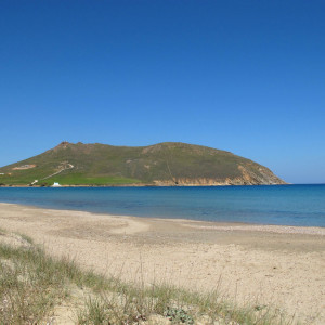 Molos beach with Antikefalos hill, Paros