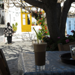 Enjoying a chilled frappe at Marpissa, Paros