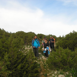 Walking by the junipers on Kantnelia hill near Naoussa