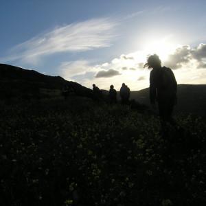 Climbing Raches hill north of Kostos village