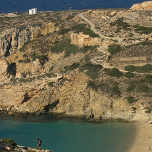 Kedros beach seen from heights East, Donousa