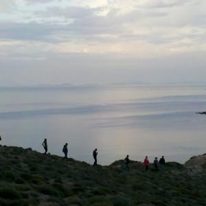 Walking along the NW coast cliffs, Paros