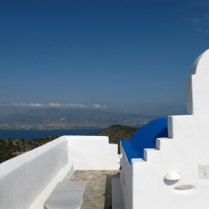 At the chapel on the peak of Mt. Profitis Ilias, Antiparos island