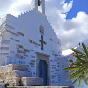 Chapel built on ancient Athena temple pediment Parian Marble Tour,