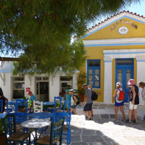 Walking by Lefkes old square, Parian Herbs, Cheese & Wine Tour