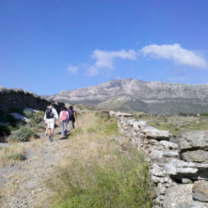 Walking to the highlands of Lefkes on the Parian Herbs, Cheese & Wine Tour, Paros island, Cyclades, Greece .